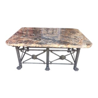 Vintage Wrought Iron & Marble Top Coffee Table For Sale