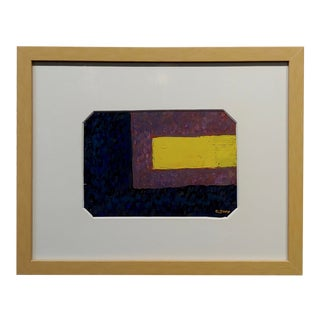 Conrad Buff Yellow Stripe Abstract Oil Painting For Sale