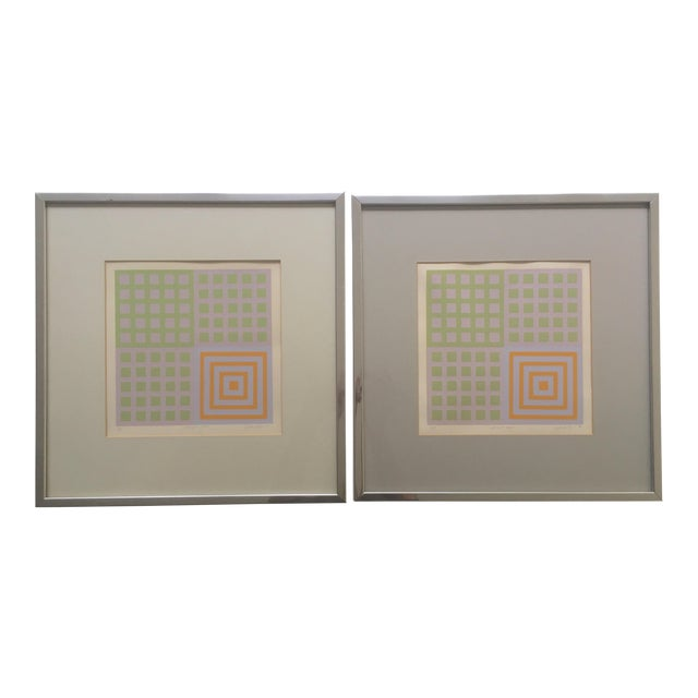 70's Geometric Abstract Silkscreens - A Pair - Image 1 of 8
