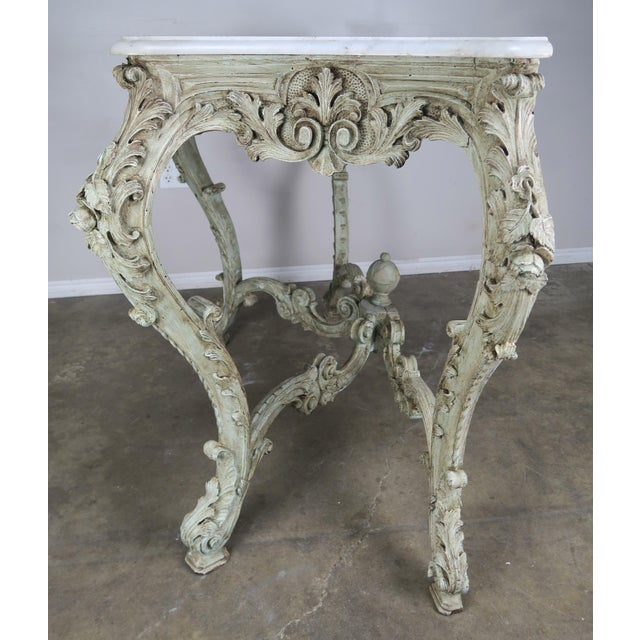 19th Century French Rococo Style Painted Console With Carrara Marble Top For Sale - Image 12 of 13