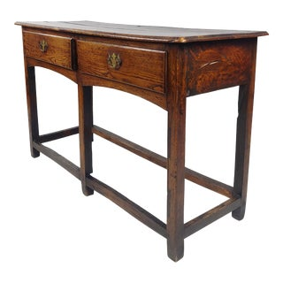 18th Century English Oak Two Drawer Sofa Table Console For Sale
