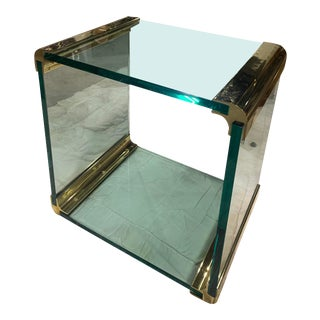 Leon Rosen for a Pace Cube Side Table in Brass and Glass. For Sale