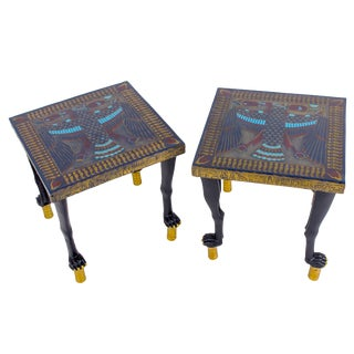 1970s Egyptian Motif Low Side Tables - a Pair For Sale