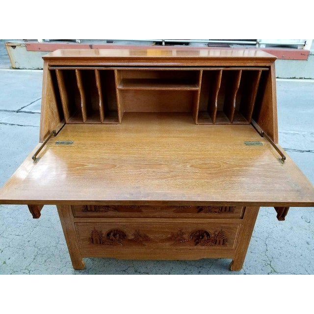 Asian Hand Carved Asian Drop-Front Desk For Sale - Image 3 of 10