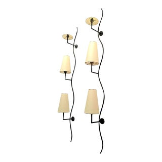"Jean Royère Pair of Vertical ""Ondulation"" Three-Lights Sconces For Sale"