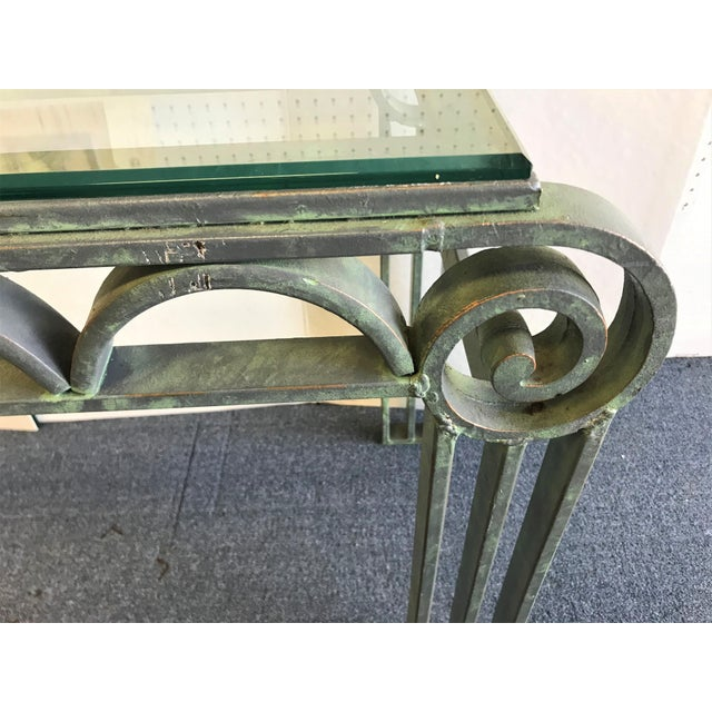 Neoclassical Iron Scroll Console Table in a Verdigris Finish For Sale - Image 10 of 12