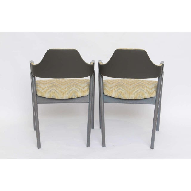 Scissor Design Vintage Sidechairs in Zigzag Fabric For Sale - Image 10 of 10