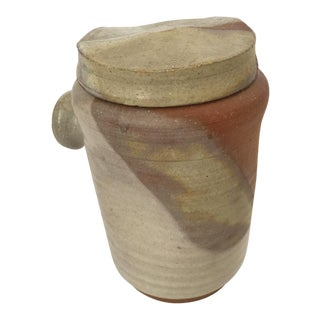 Mid Century Modern Artisan Pottery Covered Jar For Sale