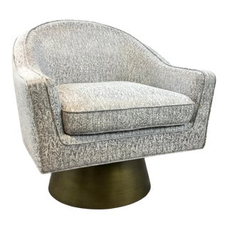 Worlds Away Modern Abstract Gray and White Dominic Swivel Chair For Sale
