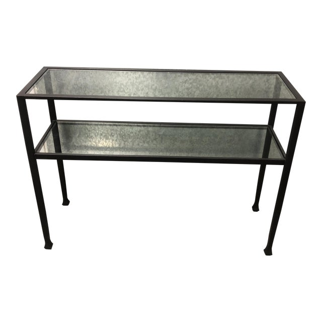 Black Iron + Glass Console Table For Sale