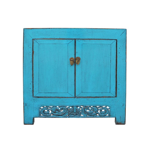 Chinese Distressed Rustic Bright Turquoise Blue Foyer Console Table Cabinet For Sale - Image 9 of 9
