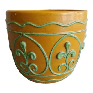 Vintage Italian Yellow Ceramic Cachepot Vase For Sale