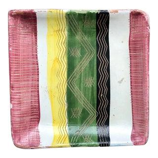 Mid Century Multi-Colored Striped Sgraffito Italian Pottery Trinket Dish For Sale