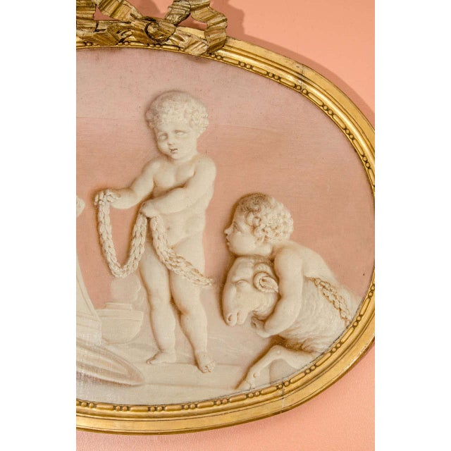 Mid 19th Century Pair of Neoclassic Grisailles Paintings For Sale - Image 5 of 9