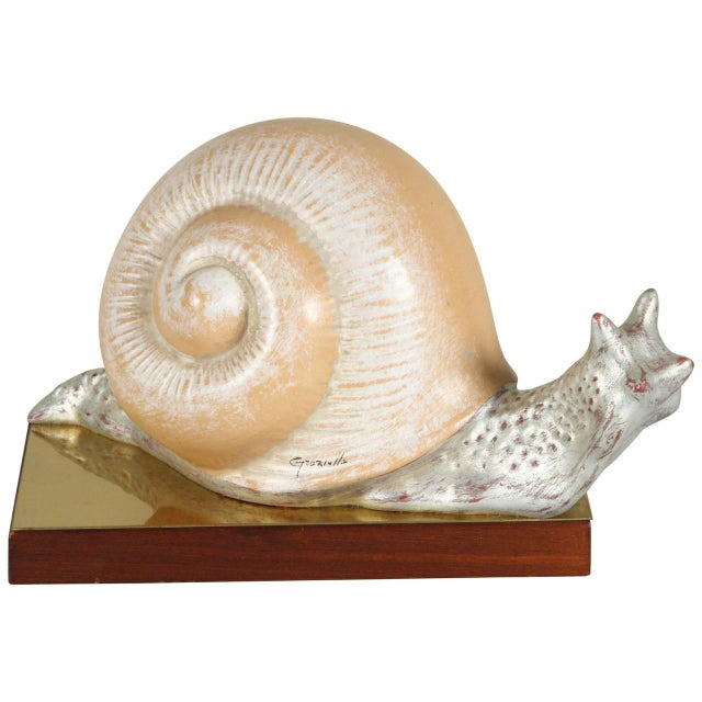 1970s Vintage Italian Hand Painted Snail Figurine For Sale - Image 9 of 9