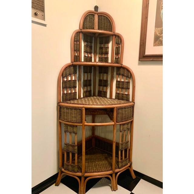 Vintage Rattan Corner Cabinet For Sale - Image 4 of 11