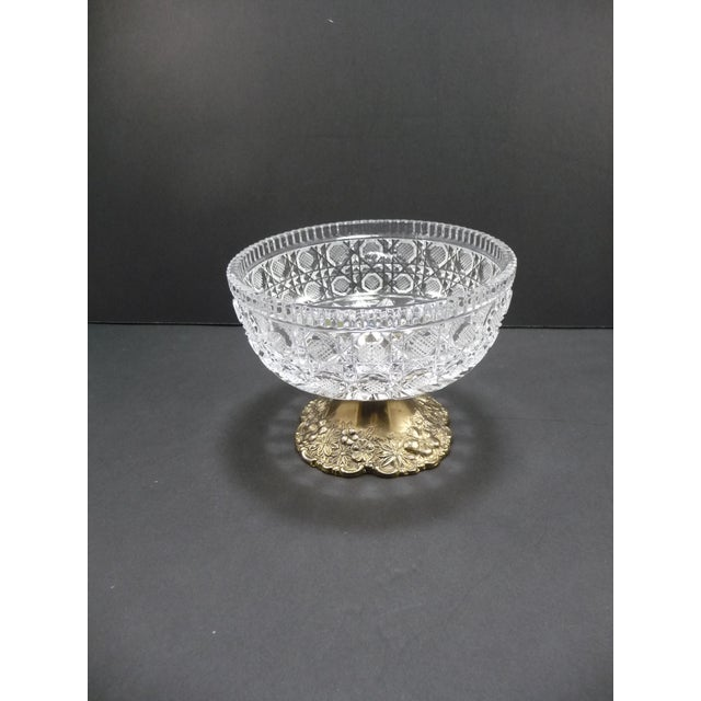 Vintage gold & cut crystal compote dish. Deeply cut & etched. Brilliant lead crystal. Gold or brass plated pedestal base w...