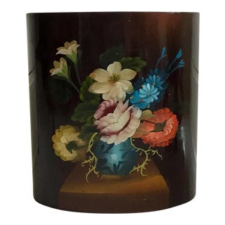 Hand Painted Floral Wastebasket For Sale