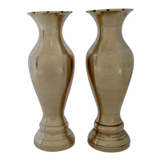 Spun Brass Vases - a Pair For Sale