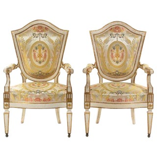18th Century Italian Painted Fauteuils, Florence - a Pair For Sale