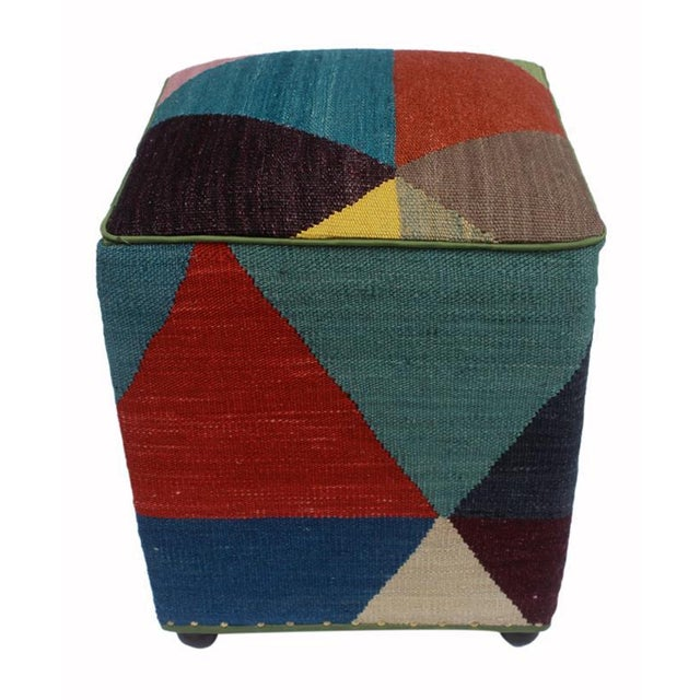 2010s Arshs Deb Ivory/Red Kilim Upholstered Handmade Ottoman For Sale - Image 5 of 8