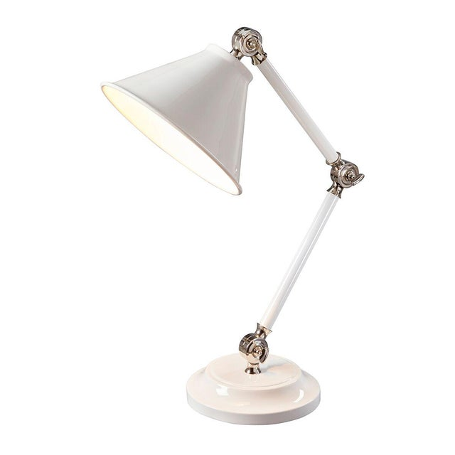 Metal Provence Element White Mini Table Lamp For Sale - Image 7 of 8