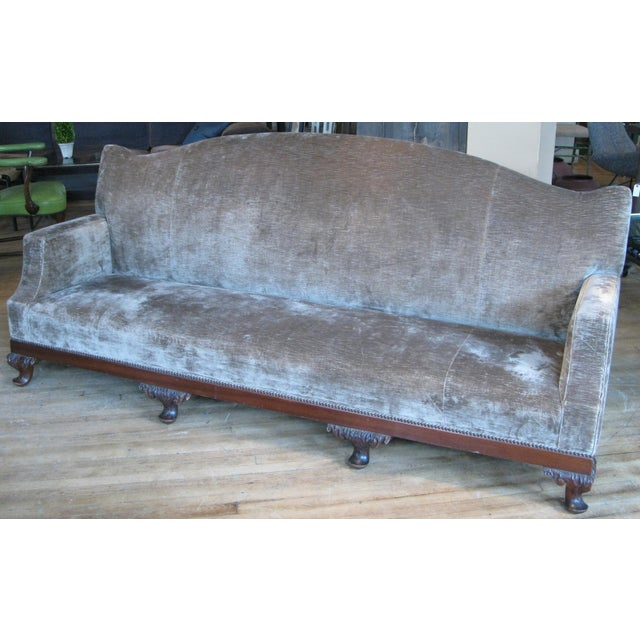 a beautiful large late 19th century sofa with curved top back and brown velvet upholstery. gorgeous design and scale.