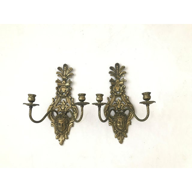 French 1950s Vintage Louis IV Versace Style Brass Candle Holders Sconces - a Pair For Sale - Image 3 of 11