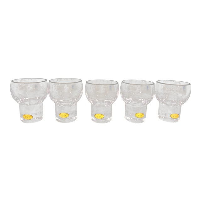Vintage Icet Arte Murano Clear Rocks Glasses - Set of 5 For Sale