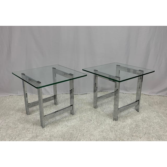 Milo Baughman Style Mid-Century Chrome and Glass Side End Tables -- a Pair For Sale - Image 9 of 9