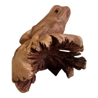 Tree Frog Wood Carving