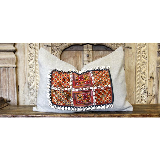 Dabeet Jumlo Embroidered Shell Pillow For Sale - Image 4 of 4