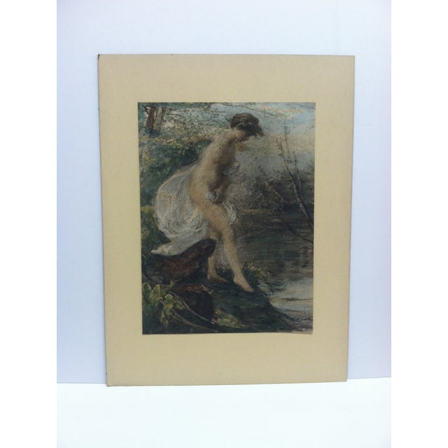 """Mid 20th Century Vintage Mid-Century """"Entering the Water"""" Mounted Color Print For Sale - Image 5 of 5"""
