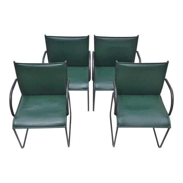 Vintage Richard Schultz for Knoll Dark Green Leather Chairs - Set of 4 For Sale