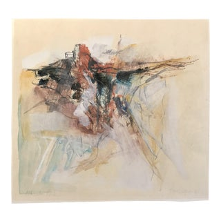 1960s Vintage John Curran Alhambra Rock Abstract Mixed Media Landscape Drawing For Sale