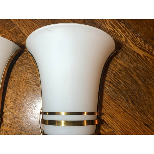 Vintage Art Deco Gold and White Glass Theatre Sconces - a Pair For Sale - Image 4 of 13