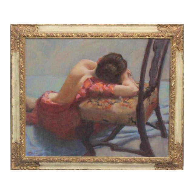 """American Oil on Canvas """"Repose"""" Signed J. Fairclough '61 For Sale"""