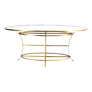 Large Brass Oval Display Table For Sale