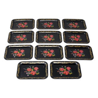 Vintage Miniature Tole Trays - Set of 11 For Sale