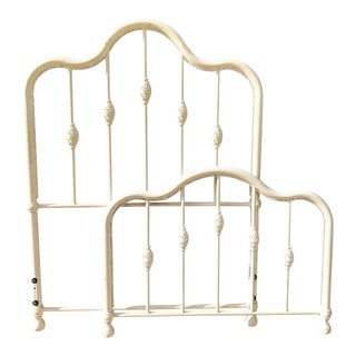 Vintage White Cast Iron Twin Size Bed For Sale