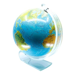 World Globe Lamp With Lucite Base For Sale