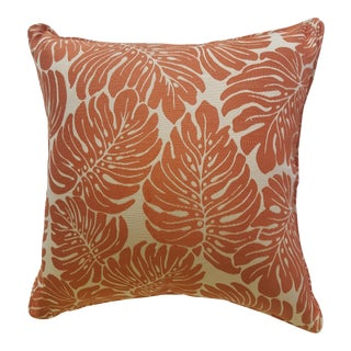 Custom Banana Leaf Palm Frond Persimmon Orange and Cream Pillow Cover