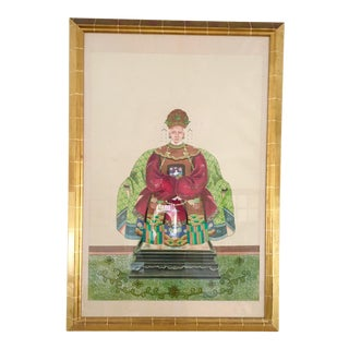 Vintage Framed Chinese Ancestor Portrait Painting For Sale