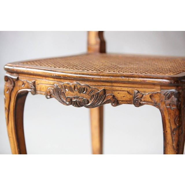 Brown 19th Century Louis XV Style Caned High Back Wood Chaise For Sale - Image 8 of 11