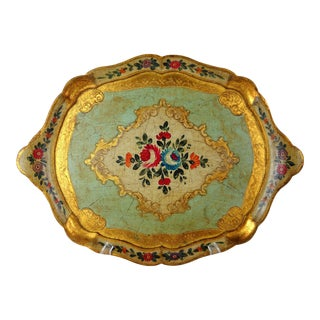 1950s Florentine Floral Tray For Sale