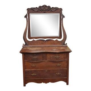 Antique Victorian Oak Keystone Furniture Co 4 Drawer Dresser W/ Swivel Mirror C1900 For Sale