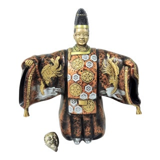 Vintage Mid Century Japanese 'Noh' Figure Okimono Sculpture With Okina Mask For Sale