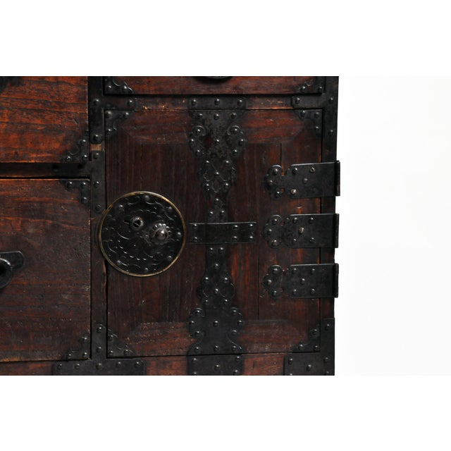Japanese Tansu With Black Color Hardware For Sale - Image 11 of 13