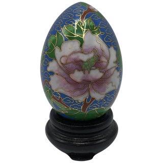 1970s Cloisonné Blue Floral Motif Egg Sculpture on Stand For Sale