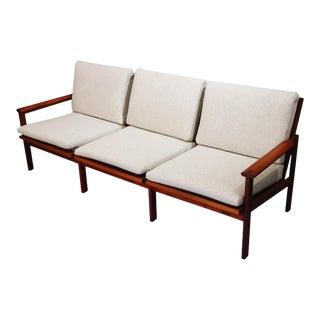 Mid-Century Danish Teak Sofa With Knoll Wool Gray Fabric 3 Seat Cushions For Sale